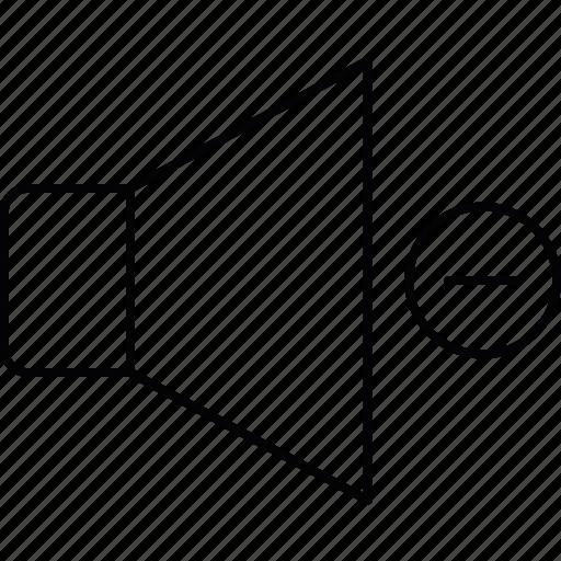 down, minus, sound, volume icon