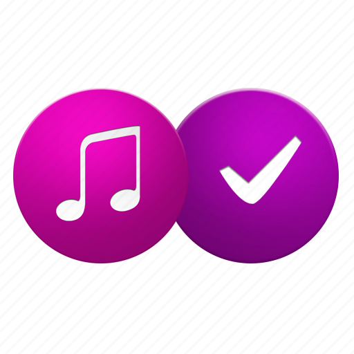 accept, audio, check, good, media, music, ok, play, player, sound icon