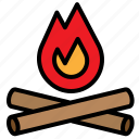 bonfire, burn, campfire, fire, flame, miscellaneous, wood icon