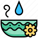 bowl, flower, spa, water icon