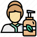 girl, lotion, massage, oil, waman icon