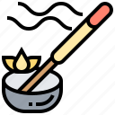 aroma, incense, meditation, scent, stick icon
