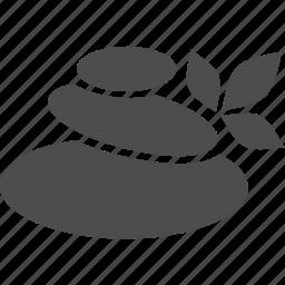 leaf, plant, spa, stone icon