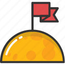 achievement, flagged planet, space adventure, spaceship, successful mission icon