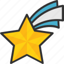 falling star, flying star, meteorite, shooting star, star icon