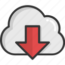 cloud computing, cloud download, cloud network, cloud storage, downloading icon