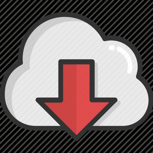 cloud computing, cloud download, cloud network, cloud storage, downloading icon