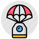 parachute, paragliding, skydiving, parachute box, parachute package