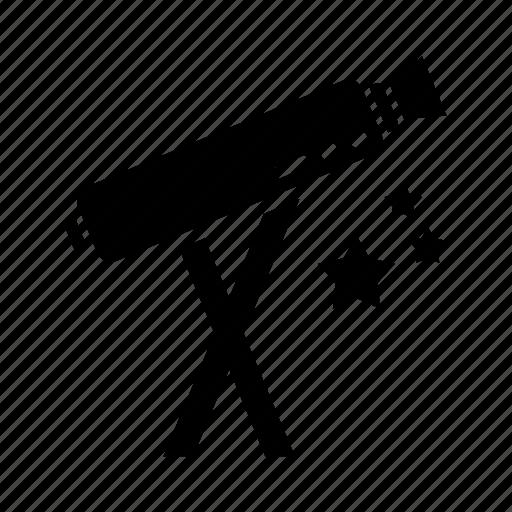 space, stars, telescope icon