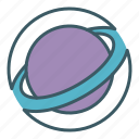 circle, planet, ring, space icon