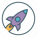 circle, exploration, flight, launch, rocket, space, spaceship icon