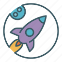 exploration, flight, launch, moon, rocket, space, spaceship icon