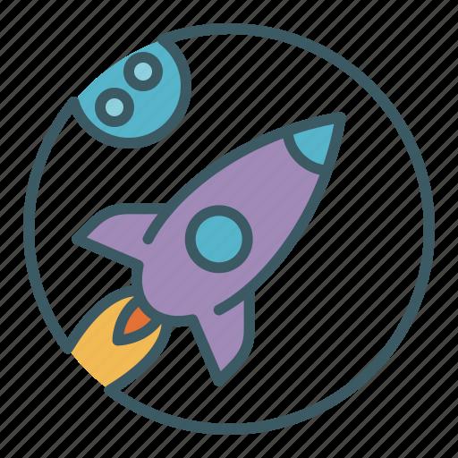 exploration, flight, launch, moon, rocket, space, spaceship icon