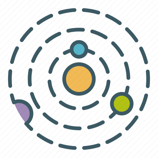 astronomy, circle, orbit, planets, solar, space, system icon