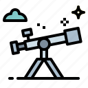 education, observation, science, space, telescope icon