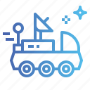 automobile, moon, rover, science, ship, space icon