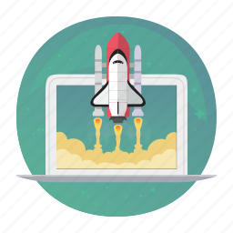 macbook, rocket, shuttle, start, startup, takeoff, up icon