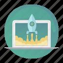 laptop, macbook, rocket, start, startup, takeoff, up icon
