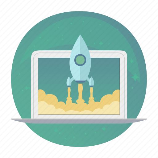 laptop, macbook, rocket, start, startup, takeoff, up icon