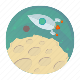 moon, rocket, space, startup, takeoff, up icon