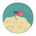 apollo, flag, moon, space, usa icon