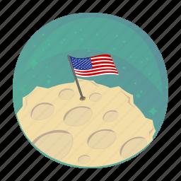 apollo, flag, moon, space, usa icon