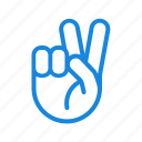 fingers, gesture, hand, peace sign icon