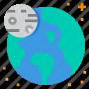astronomy, earth, moon, orbit, planet icon