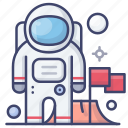 astronaut, flag, space, spaceman icon