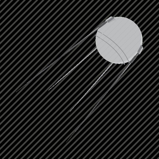 cartoon, communication, gray, satellite, space, spacecraft, technology icon