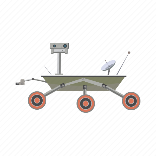 car, cartoon, curiosity, exploration, mars, rover, transport icon