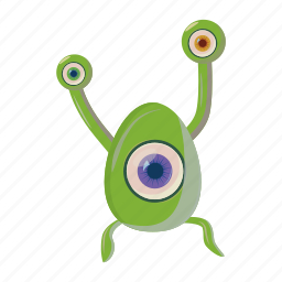 alien, cartoon, character, eye, monster, one, space icon