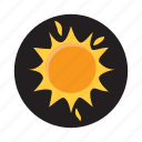 bright, cartoon, hot, orange, sun, sunlight, sunshine icon