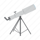 astronomy, cartoon, discovery, lens, science, spyglass, telescope icon