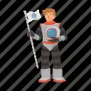 astronaut, conquest, flag, space, spacesuit