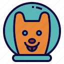 astronaut, dog, experiment, pet, space icon