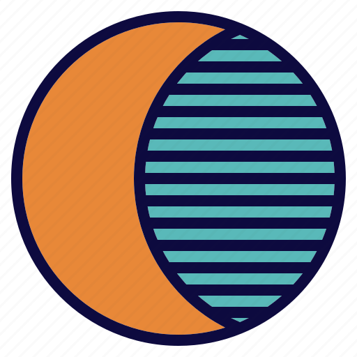 crescent, moon, planet, space, star icon