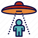 human, ray, space, spacecraft, ufo icon