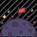 astronomy, flag, goal, moon, planet, space, achieve icon