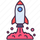 astronomy, education, launch, observation, rocket, space, spaceship icon