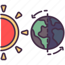 astronomy, day, earth, education, night, sun, theory icon