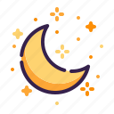 adventure, astronomy, crescent, moon, night, outer space, space icon