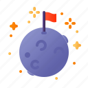 adventure, astronomy, flag, moon, outer space, planet, space icon