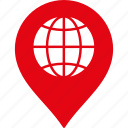 globe, gps, location, map marker, navigation, pin, web icon