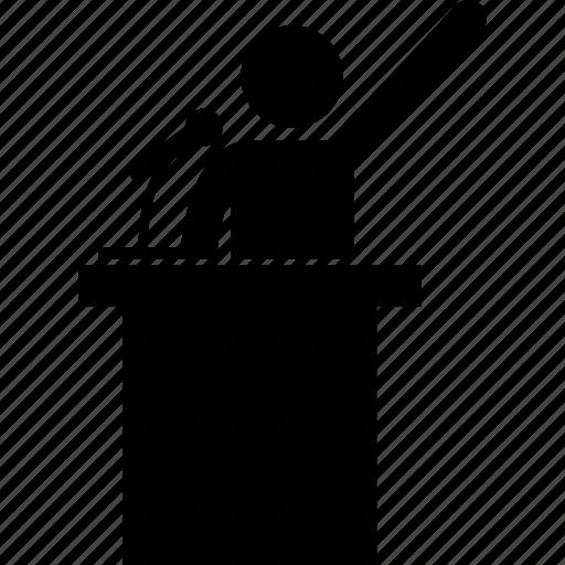 announcement, presentation, presenter, professional, public, speech, spokesman icon