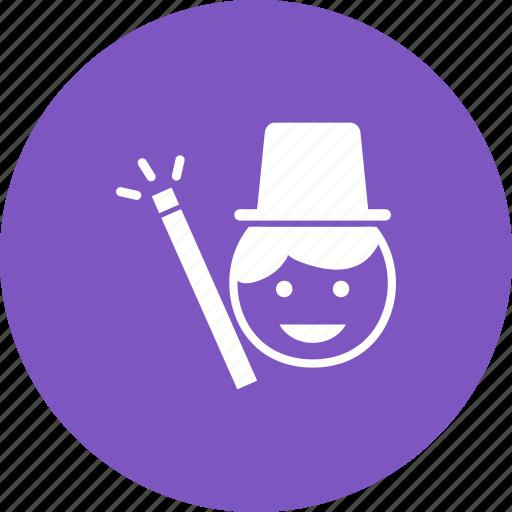 hand, hat, magic, magician, man, show, trick icon