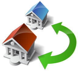 houses, swap, transfer, wire icon