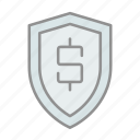 banking, business, commerce, finance, financial protection, money, shield icon