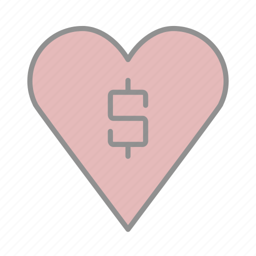 banking, business, commerce, finance, heart, love, money icon