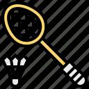 badminton, racket, shuttlecock, sport icon